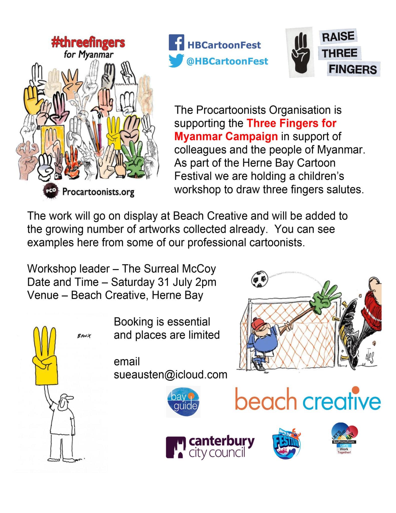 Cartoonist Workshop – Three Fingers For Myanmar Campaign
