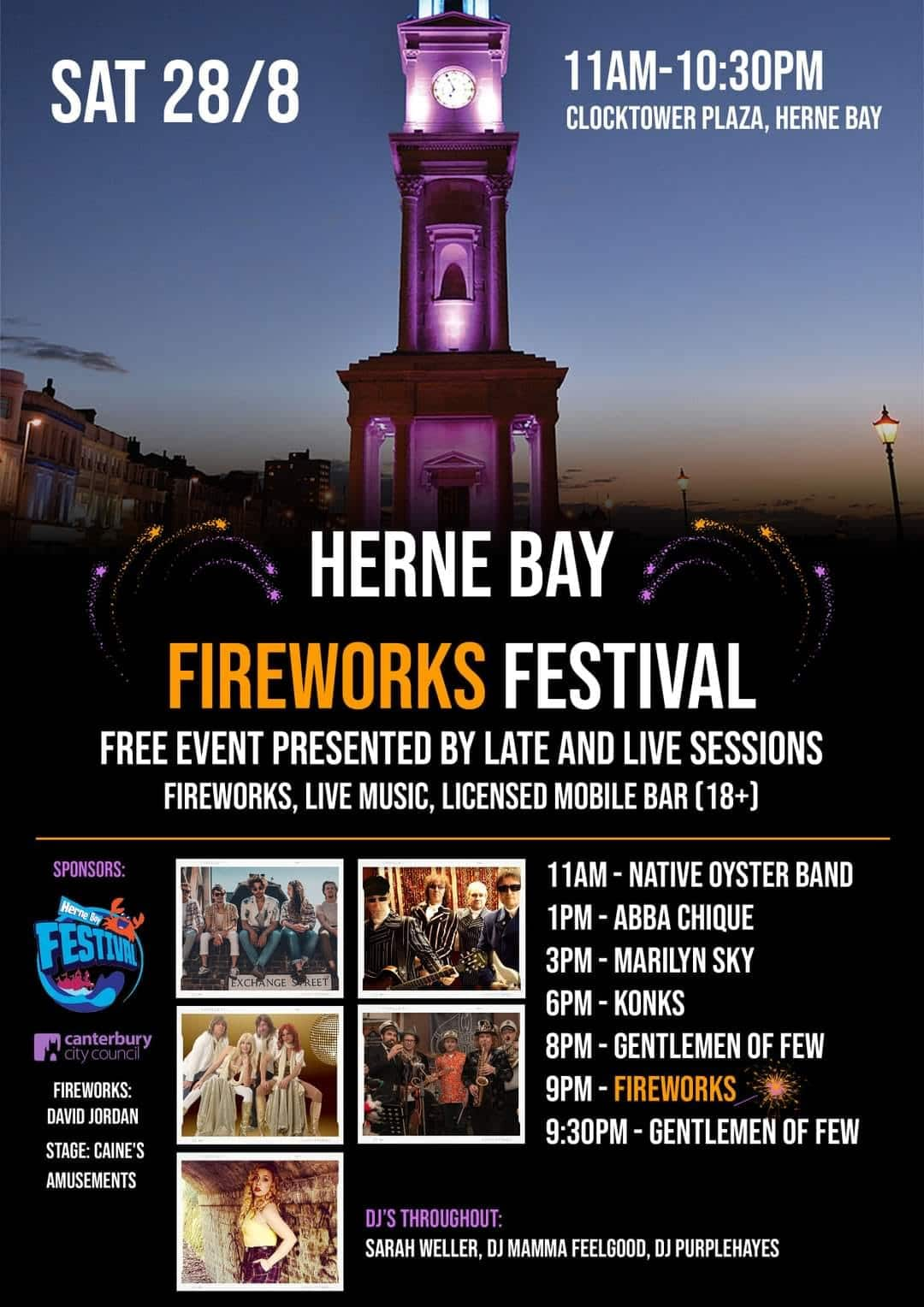 Live Music on The Plaza including fireworks at 9pm